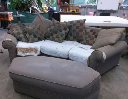 3 seater sofa before re-upholstery