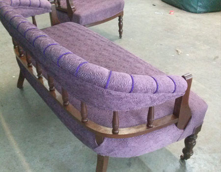 Antique daybed reupholstered after