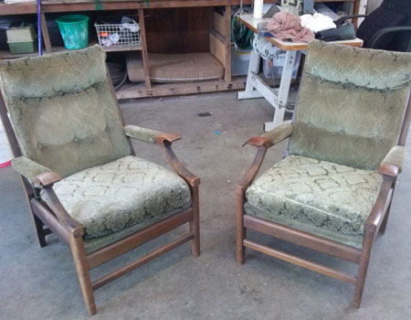 Chairs reupholstered Before