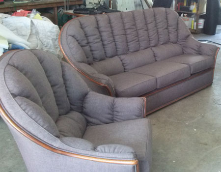 Couch & Arm Chairs upholstered after