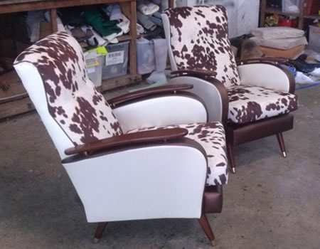 Retro armchair reupholstered after