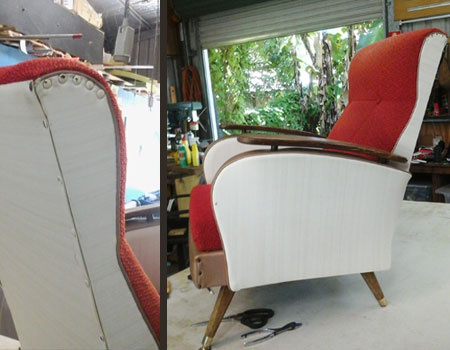 Retro armchair reupholstered before
